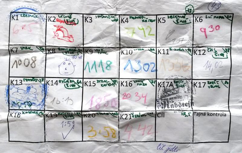 Kontrolní list. Šneka na K2 mám od Honzy Suchomela, srdíčko na K5 od Zuzky Urbancové. Jinak časy K3 7:25, K17 21:23, K18 22:54.