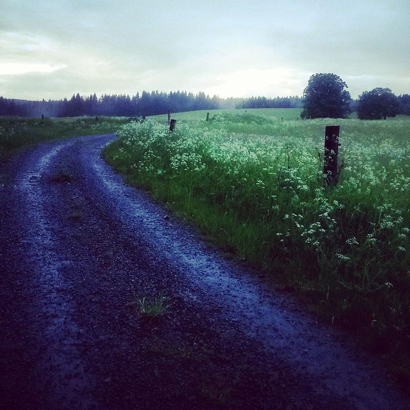 Podvečerní atmosféra na cestách zpět z Ašského výběžku. Kdo by to byl řekl, že o pár kilometrů vedle je konec světa.