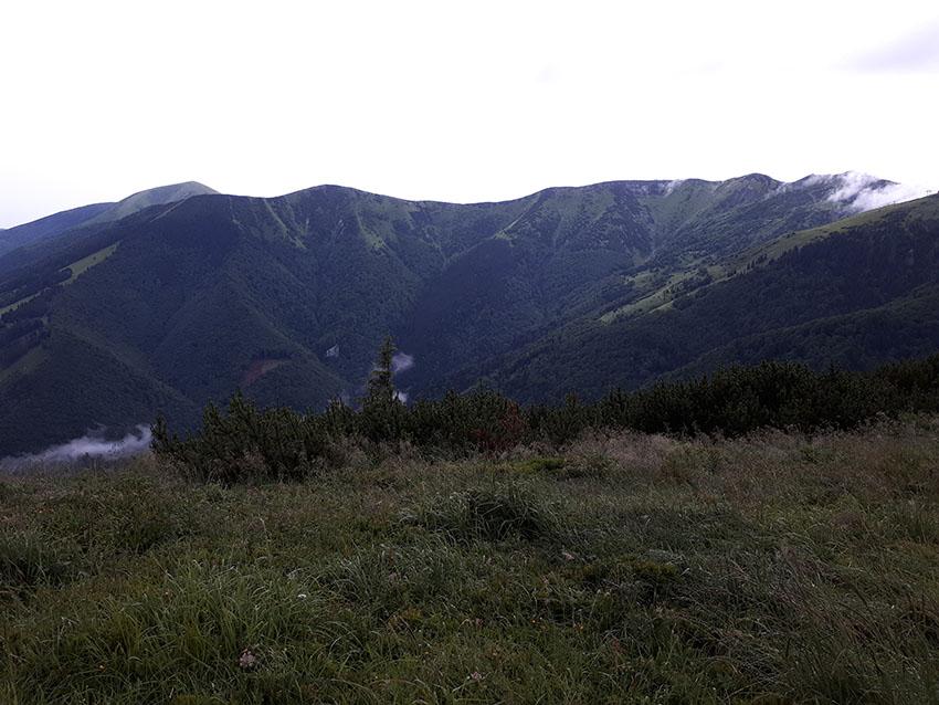 Poslední pohled na hlavní hřeben Malé Fatry před seběhem z Kraviarského dolů do Vrátnej doliny. Ten hřeben poběžíme zleva doprava, ale nejdřív musíme vylézt na Rozsutec.